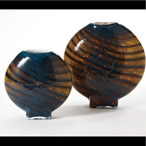 "Two Art Glass Vases 12"" and 9"""
